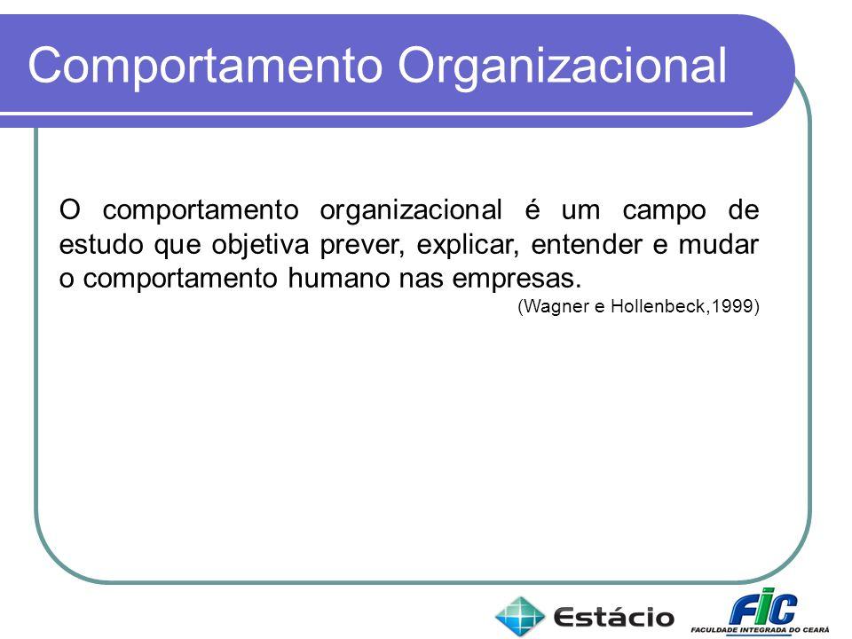 Comportamento Organizacional O comportamento organizacional é um campo de estudo que objetiva prever, explicar, entender e mudar o comportamento human