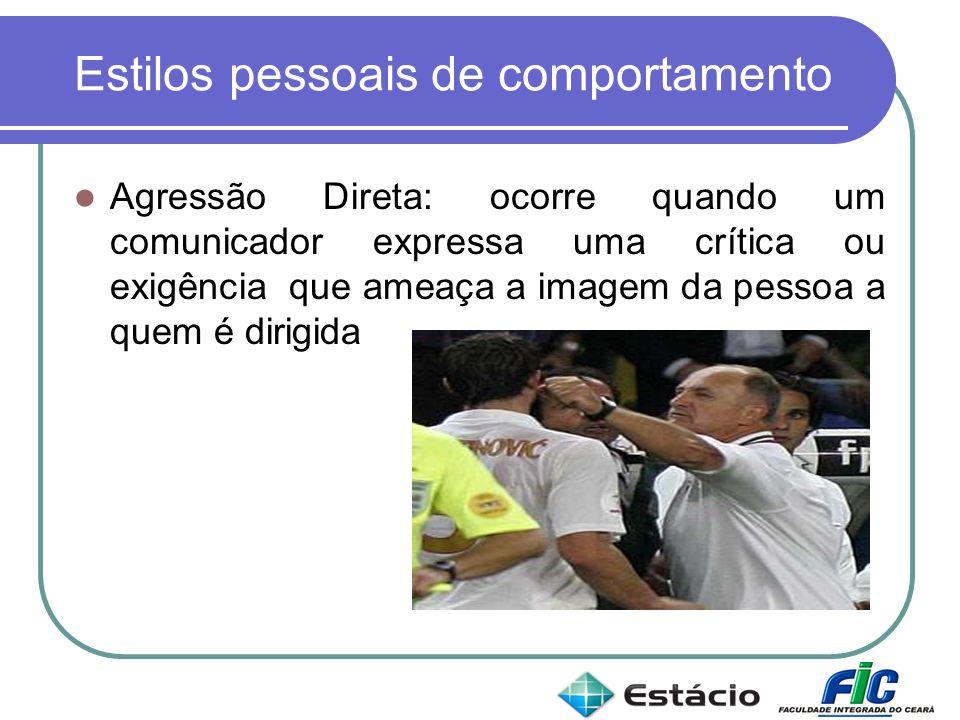 Estilos pessoais de comportamento Agressão Direta: ocorre quando um comunicador expressa uma crítica ou exigência que ameaça a imagem da pessoa a quem