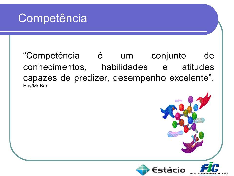Competência é um conjunto de conhecimentos, habilidades e atitudes capazes de predizer, desempenho excelente. Hay/Mc Ber