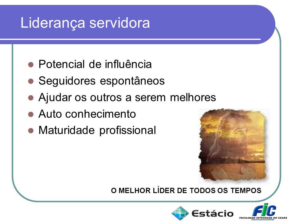 Liderança servidora Potencial de influência Seguidores espontâneos Ajudar os outros a serem melhores Auto conhecimento Maturidade profissional O MELHO