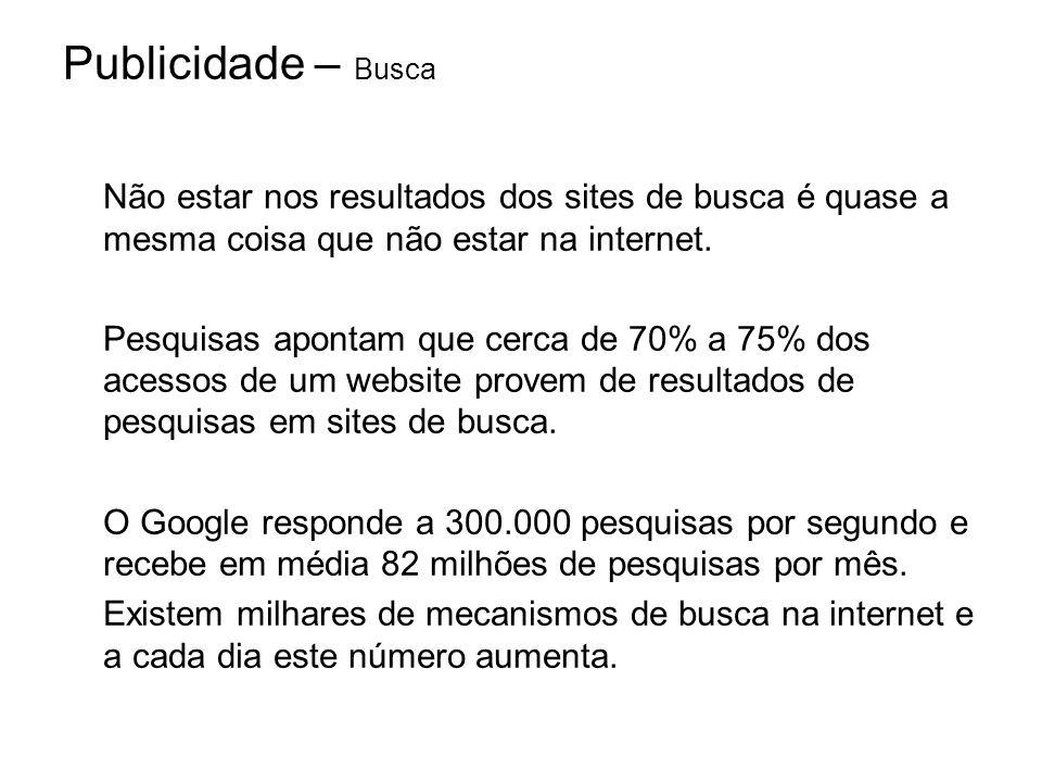Publicidade – Busca Não estar nos resultados dos sites de busca é quase a mesma coisa que não estar na internet. Pesquisas apontam que cerca de 70% a