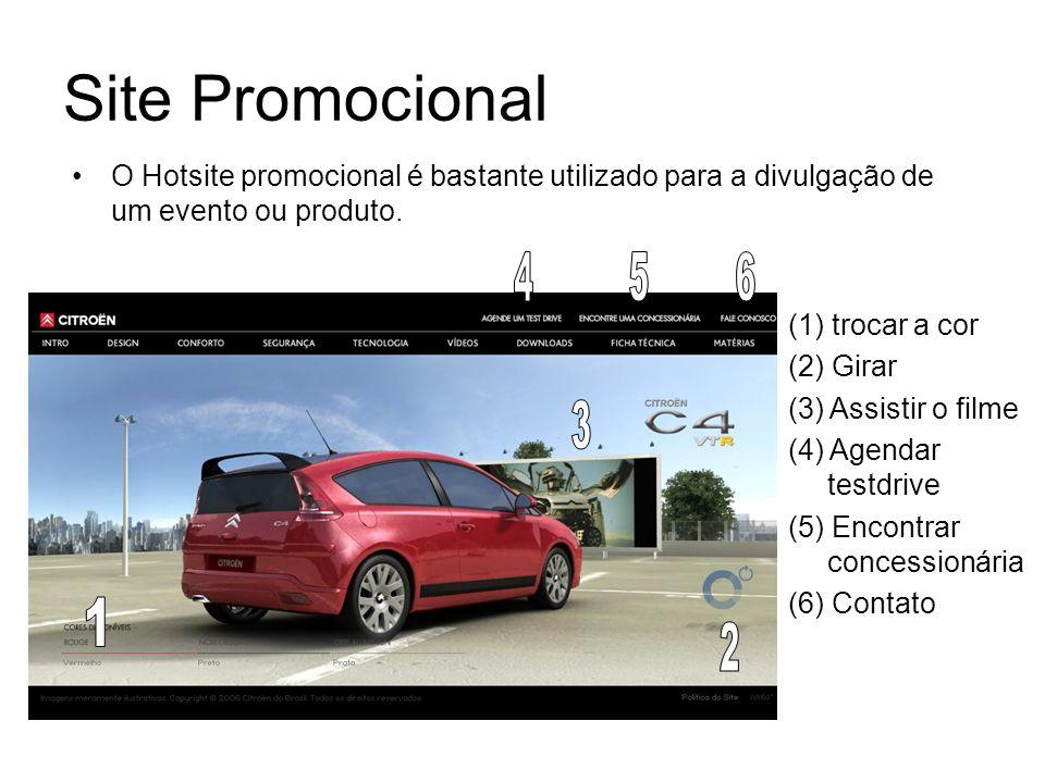 Site Promocional (1) trocar a cor (2) Girar (3) Assistir o filme (4) Agendar testdrive (5) Encontrar concessionária (6) Contato O Hotsite promocional