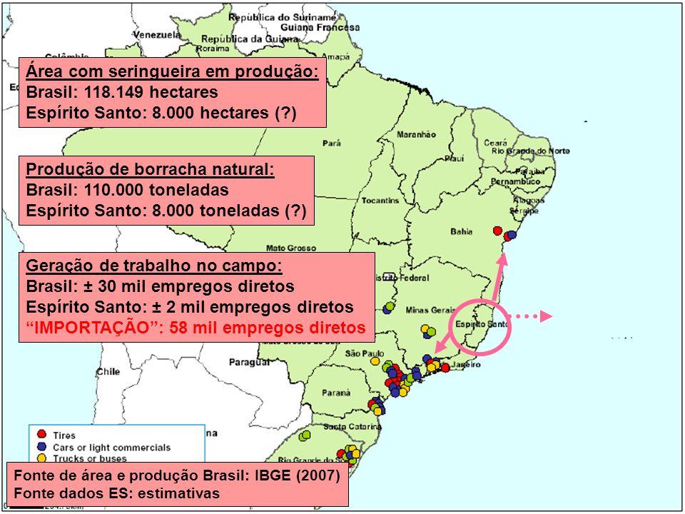 Área com seringueira em produção: Brasil: 118.149 hectares Espírito Santo: 8.000 hectares (?) Produção de borracha natural: Brasil: 110.000 toneladas Espírito Santo: 8.000 toneladas (?) Geração de trabalho no campo: Brasil: ± 30 mil empregos diretos Espírito Santo: ± 2 mil empregos diretos IMPORTAÇÃO: 58 mil empregos diretos Fonte de área e produção Brasil: IBGE (2007) Fonte dados ES: estimativas