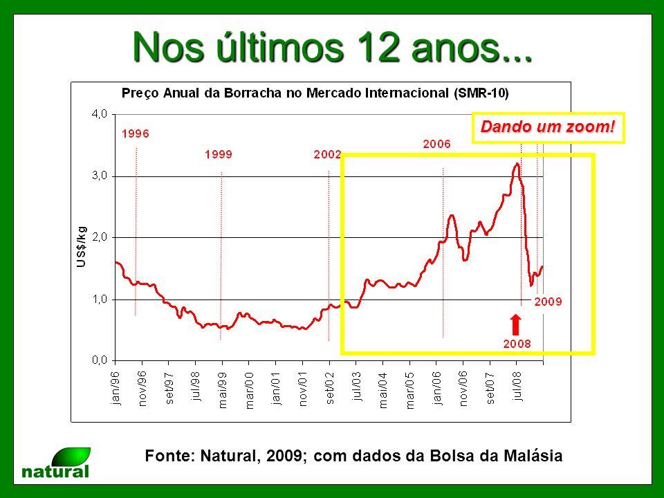 Nos últimos 12 anos... Fonte: Natural, 2009; com dados da Bolsa da Malásia Dando um zoom!