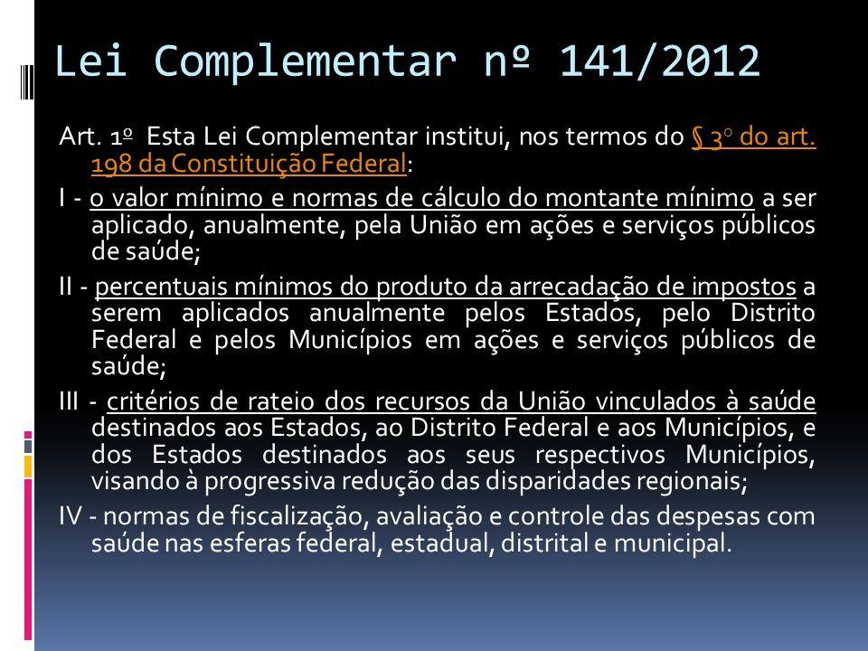 Lei Complementar nº 141/2012 Art. 1 o Esta Lei Complementar institui, nos termos do § 3 o do art. 198 da Constituição Federal: § 3 o do art. 198 da Co