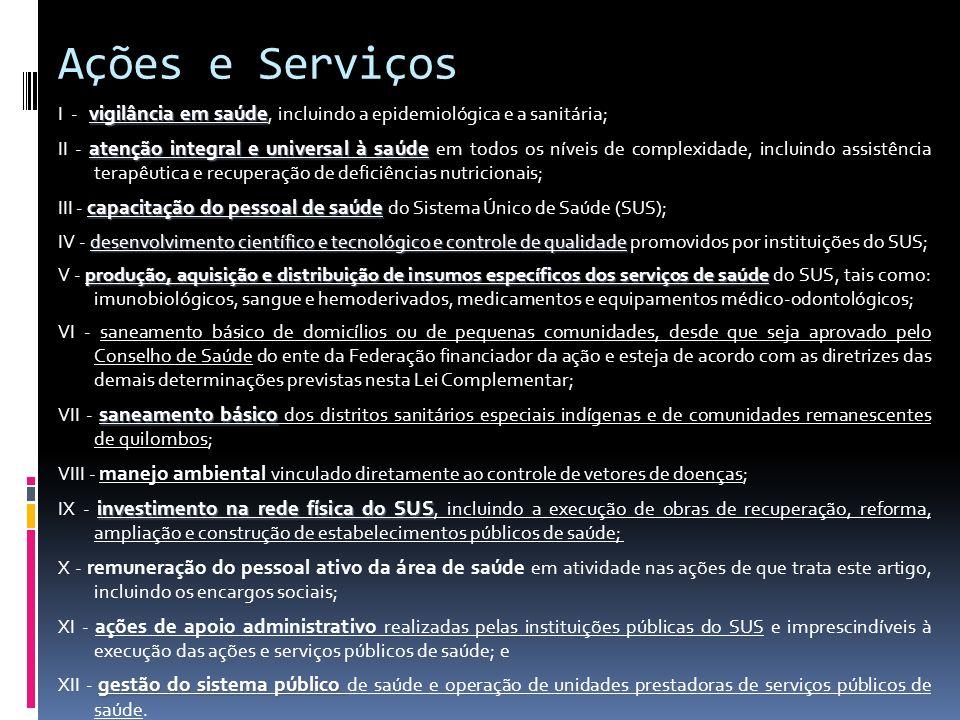 Ações e Serviços vigilância em saúde I - vigilância em saúde, incluindo a epidemiológica e a sanitária; atenção integral e universal à saúde II - aten