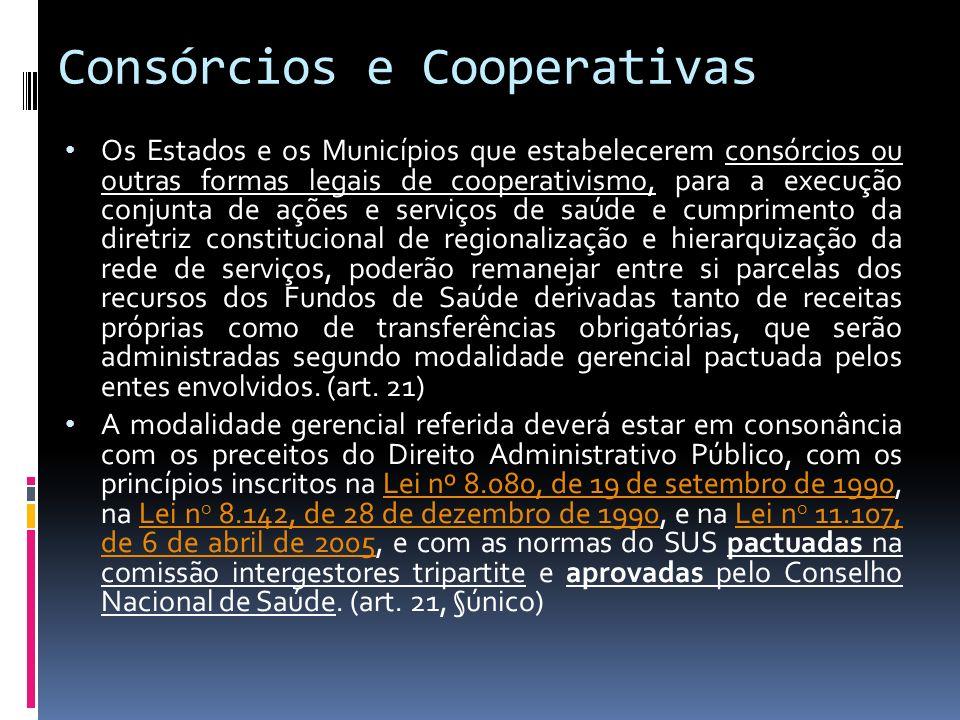 Consórcios e Cooperativas Os Estados e os Municípios que estabelecerem consórcios ou outras formas legais de cooperativismo, para a execução conjunta