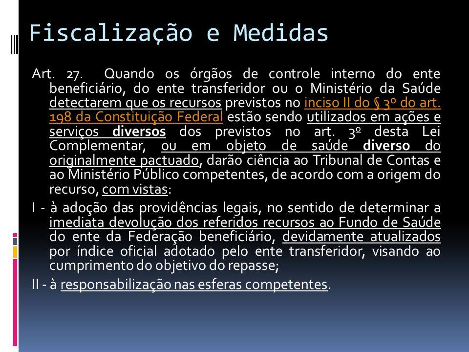 Fiscalização e Medidas Art. 27. Quando os órgãos de controle interno do ente beneficiário, do ente transferidor ou o Ministério da Saúde detectarem qu