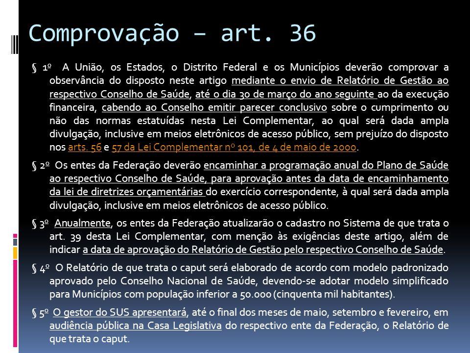 Comprovação – art. 36 § 1 o A União, os Estados, o Distrito Federal e os Municípios deverão comprovar a observância do disposto neste artigo mediante