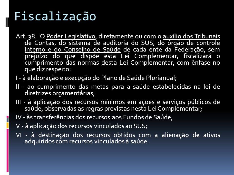 Fiscalização Art. 38. O Poder Legislativo, diretamente ou com o auxílio dos Tribunais de Contas, do sistema de auditoria do SUS, do órgão de controle