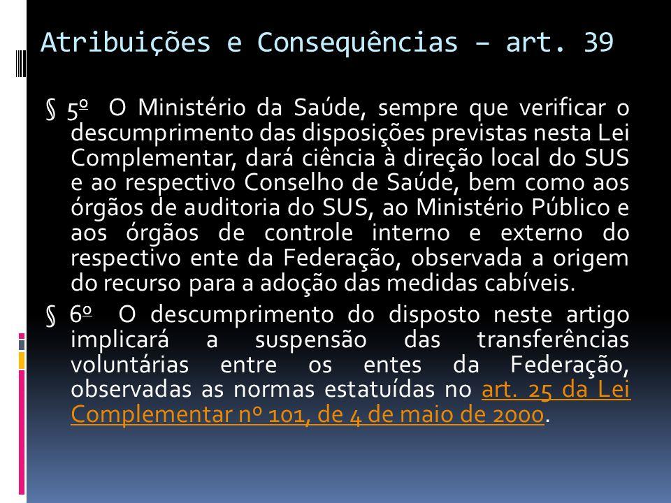 Atribuições e Consequências – art. 39 § 5 o O Ministério da Saúde, sempre que verificar o descumprimento das disposições previstas nesta Lei Complemen