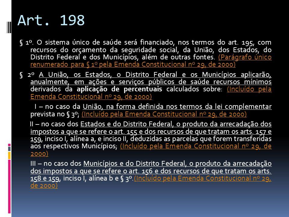 Art. 198 § 1º. O sistema único de saúde será financiado, nos termos do art. 195, com recursos do orçamento da seguridade social, da União, dos Estados