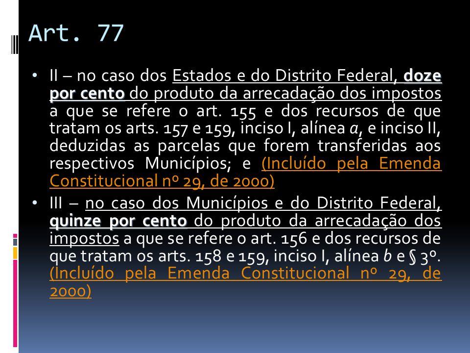 Art. 77 doze por cento II – no caso dos Estados e do Distrito Federal, doze por cento do produto da arrecadação dos impostos a que se refere o art. 15