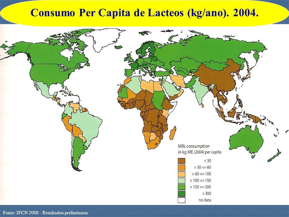 Fonte: IFCN 2008 - Resultados preliminares Consumo Per Capita de Lacteos (kg/ano). 2004.
