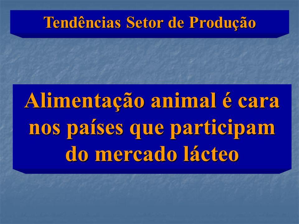 Alimentação animal é cara nos países que participam do mercado lácteo Tendências Setor de Produção