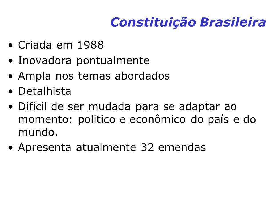 Constituição Brasileira Criada em 1988 Inovadora pontualmente Ampla nos temas abordados Detalhista Difícil de ser mudada para se adaptar ao momento: p