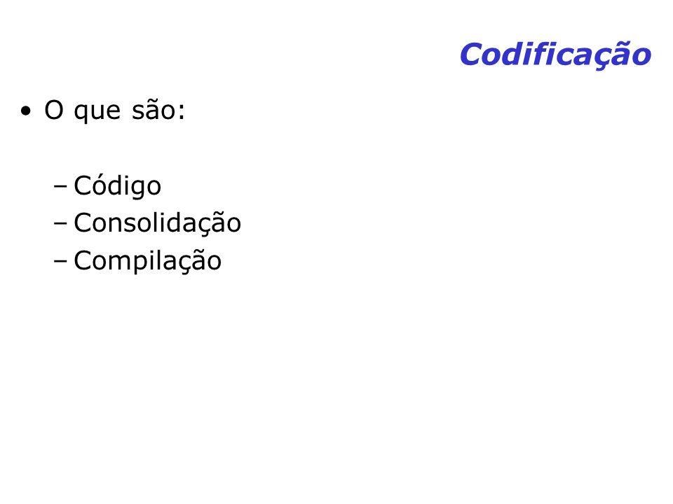Codificação O que são: –Código –Consolidação –Compilação