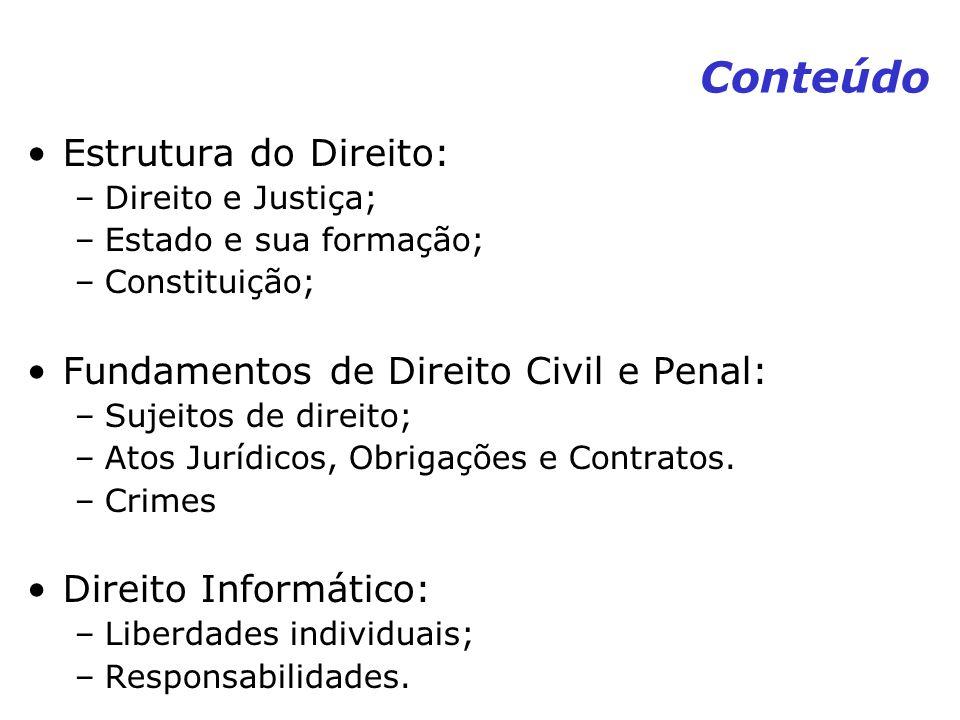 Conteúdo Estrutura do Direito: –Direito e Justiça; –Estado e sua formação; –Constituição; Fundamentos de Direito Civil e Penal: –Sujeitos de direito;