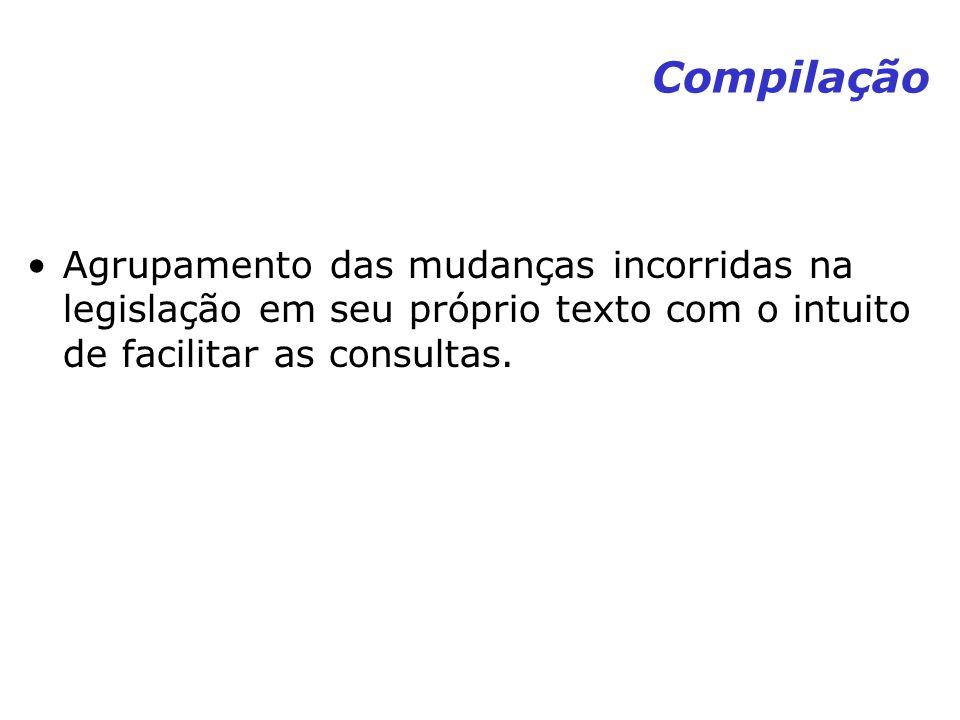 Compilação Agrupamento das mudanças incorridas na legislação em seu próprio texto com o intuito de facilitar as consultas.