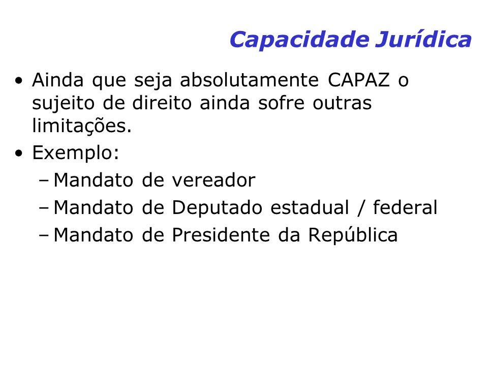 Capacidade Jurídica Ainda que seja absolutamente CAPAZ o sujeito de direito ainda sofre outras limitações. Exemplo: –Mandato de vereador –Mandato de D