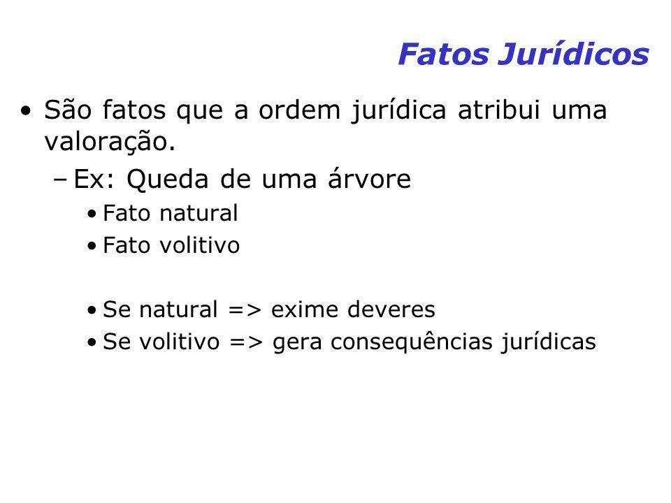Fatos Jurídicos São fatos que a ordem jurídica atribui uma valoração. –Ex: Queda de uma árvore Fato natural Fato volitivo Se natural => exime deveres