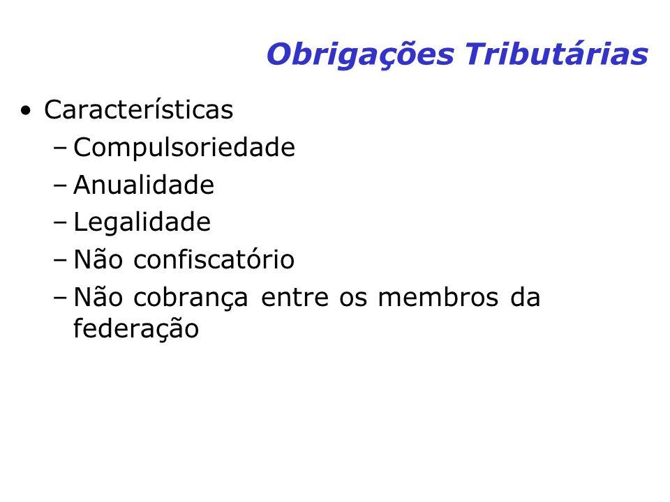 Obrigações Tributárias Características –Compulsoriedade –Anualidade –Legalidade –Não confiscatório –Não cobrança entre os membros da federação