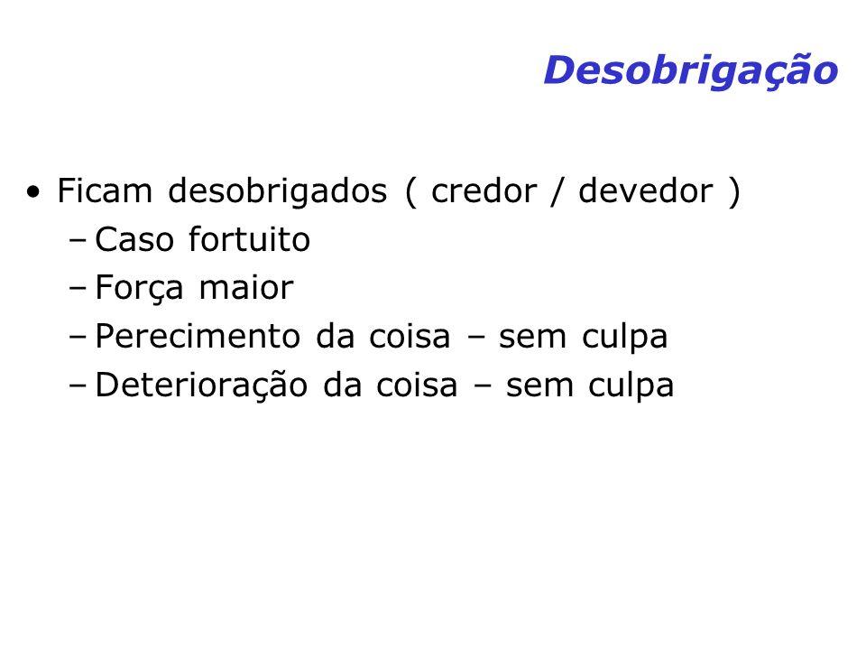 Desobrigação Ficam desobrigados ( credor / devedor ) –Caso fortuito –Força maior –Perecimento da coisa – sem culpa –Deterioração da coisa – sem culpa