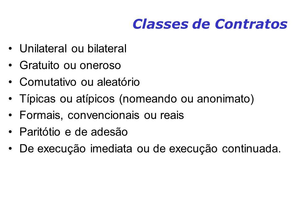 Classes de Contratos Unilateral ou bilateral Gratuito ou oneroso Comutativo ou aleatório Típicas ou atípicos (nomeando ou anonimato) Formais, convenci