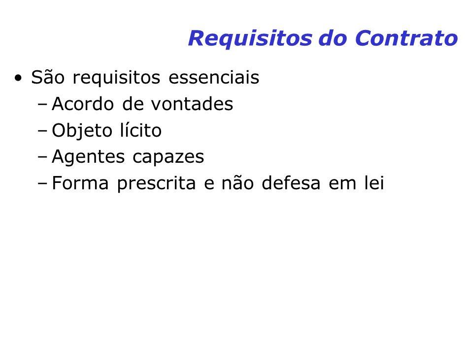 Requisitos do Contrato São requisitos essenciais –Acordo de vontades –Objeto lícito –Agentes capazes –Forma prescrita e não defesa em lei