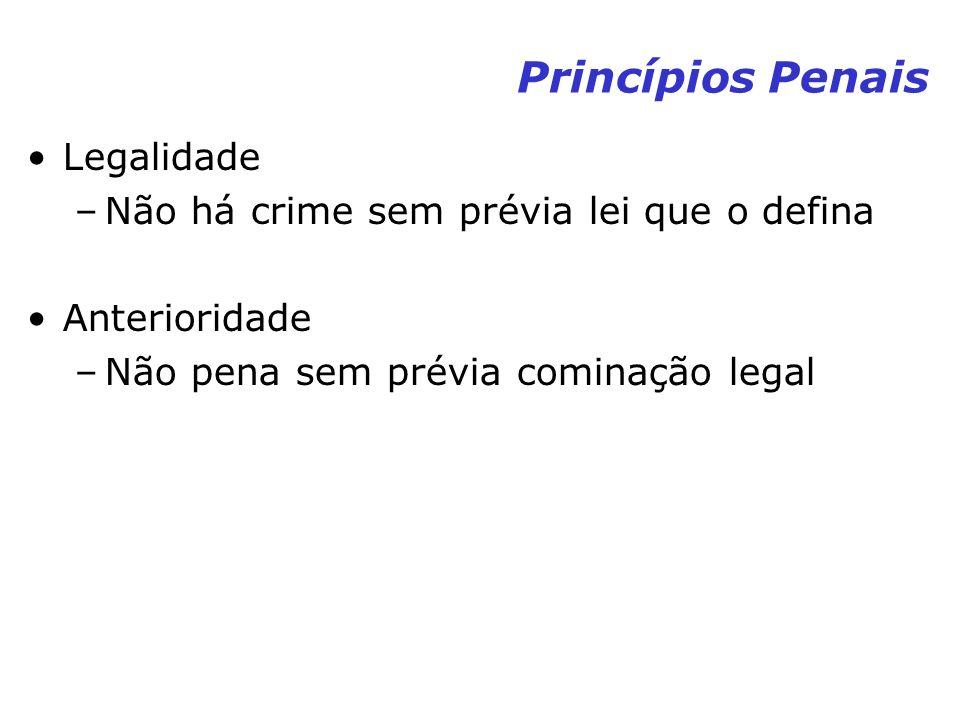 Princípios Penais Legalidade –Não há crime sem prévia lei que o defina Anterioridade –Não pena sem prévia cominação legal