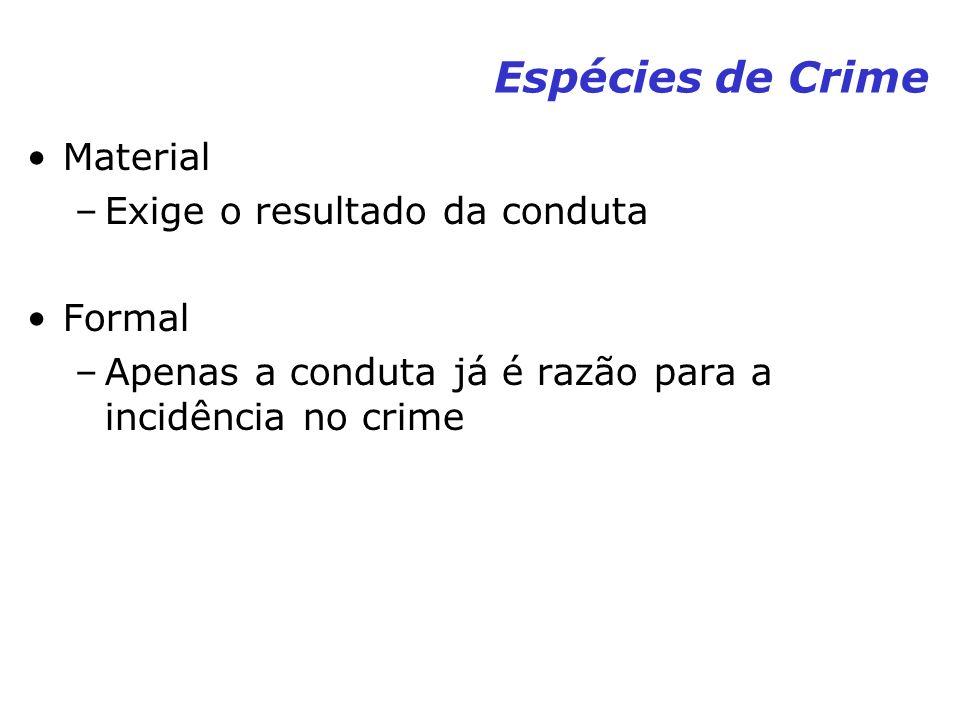 Espécies de Crime Material –Exige o resultado da conduta Formal –Apenas a conduta já é razão para a incidência no crime