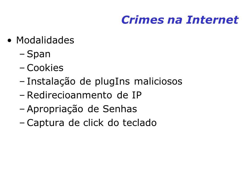 Crimes na Internet Modalidades –Span –Cookies –Instalação de plugIns maliciosos –Redirecioanmento de IP –Apropriação de Senhas –Captura de click do te