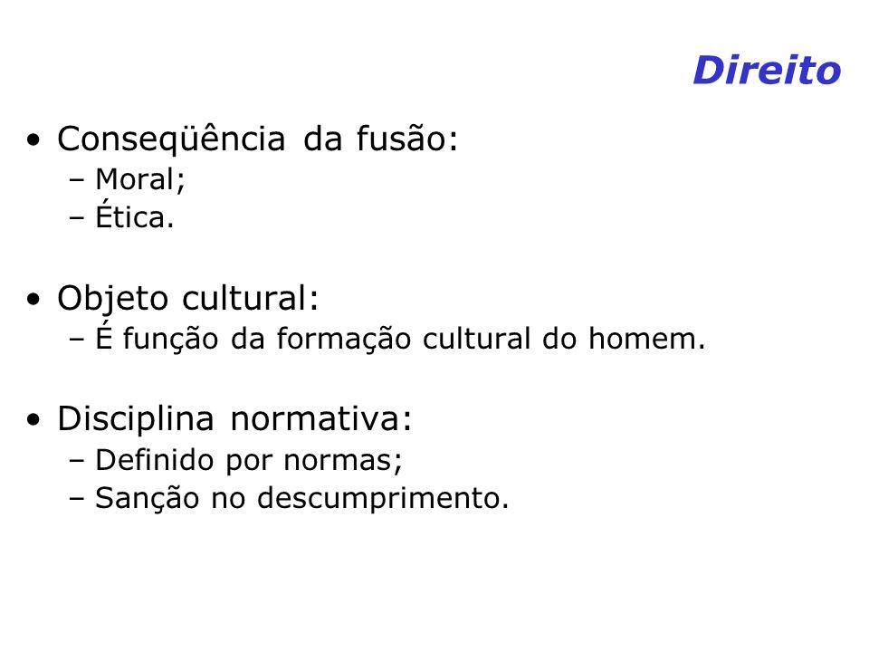Direito Conseqüência da fusão: –Moral; –Ética. Objeto cultural: –É função da formação cultural do homem. Disciplina normativa: –Definido por normas; –