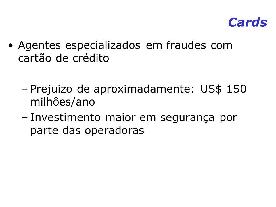 Cards Agentes especializados em fraudes com cartão de crédito –Prejuizo de aproximadamente: US$ 150 milhôes/ano –Investimento maior em segurança por p