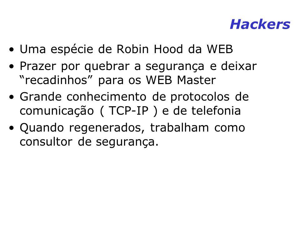 Hackers Uma espécie de Robin Hood da WEB Prazer por quebrar a segurança e deixar recadinhos para os WEB Master Grande conhecimento de protocolos de co
