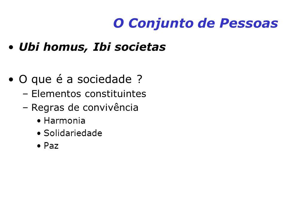 O Conjunto de Pessoas Ubi homus, Ibi societas O que é a sociedade ? –Elementos constituintes –Regras de convivência Harmonia Solidariedade Paz