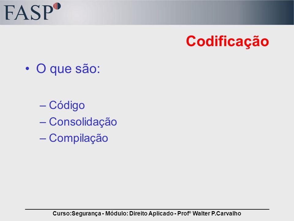 _____________________________________________________________________________ Curso:Segurança - Módulo: Direito Aplicado - Profº Walter P.Carvalho Cod