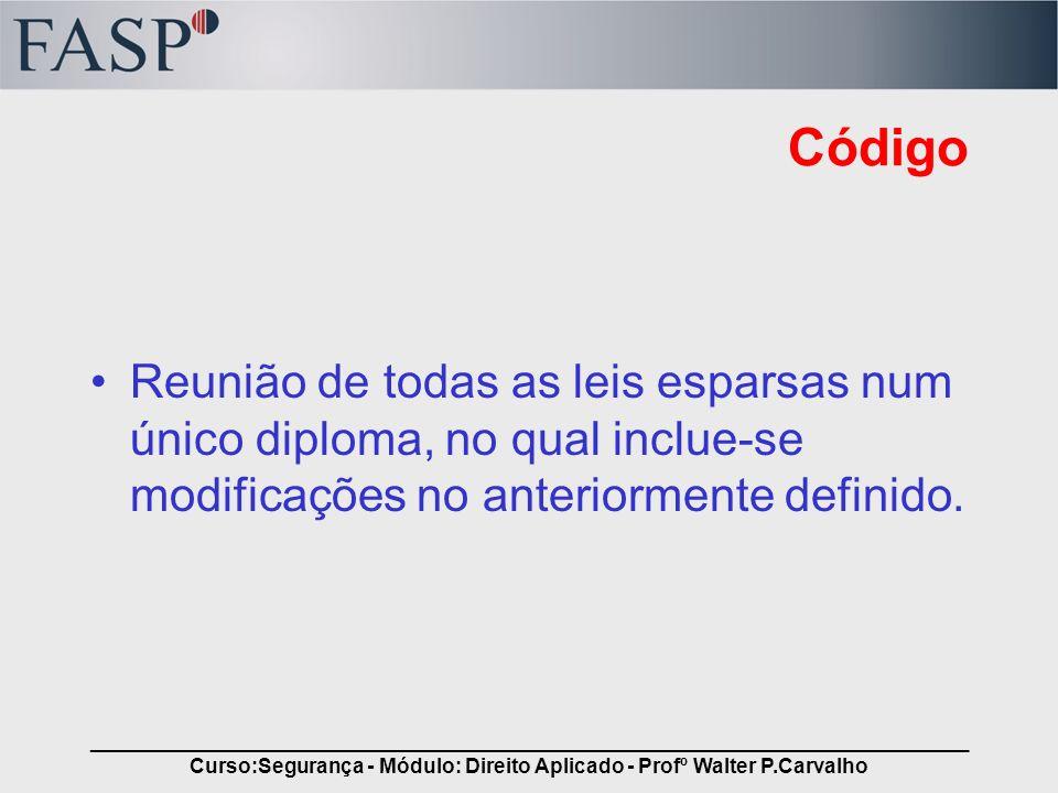 _____________________________________________________________________________ Curso:Segurança - Módulo: Direito Aplicado - Profº Walter P.Carvalho Cód