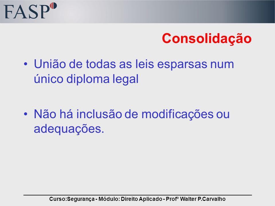 _____________________________________________________________________________ Curso:Segurança - Módulo: Direito Aplicado - Profº Walter P.Carvalho Con