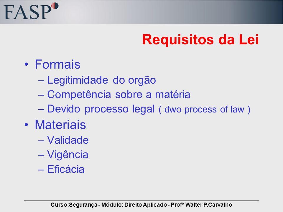 _____________________________________________________________________________ Curso:Segurança - Módulo: Direito Aplicado - Profº Walter P.Carvalho Req