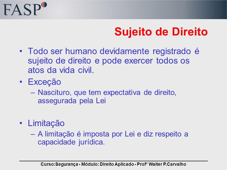 _____________________________________________________________________________ Curso:Segurança - Módulo: Direito Aplicado - Profº Walter P.Carvalho Suj