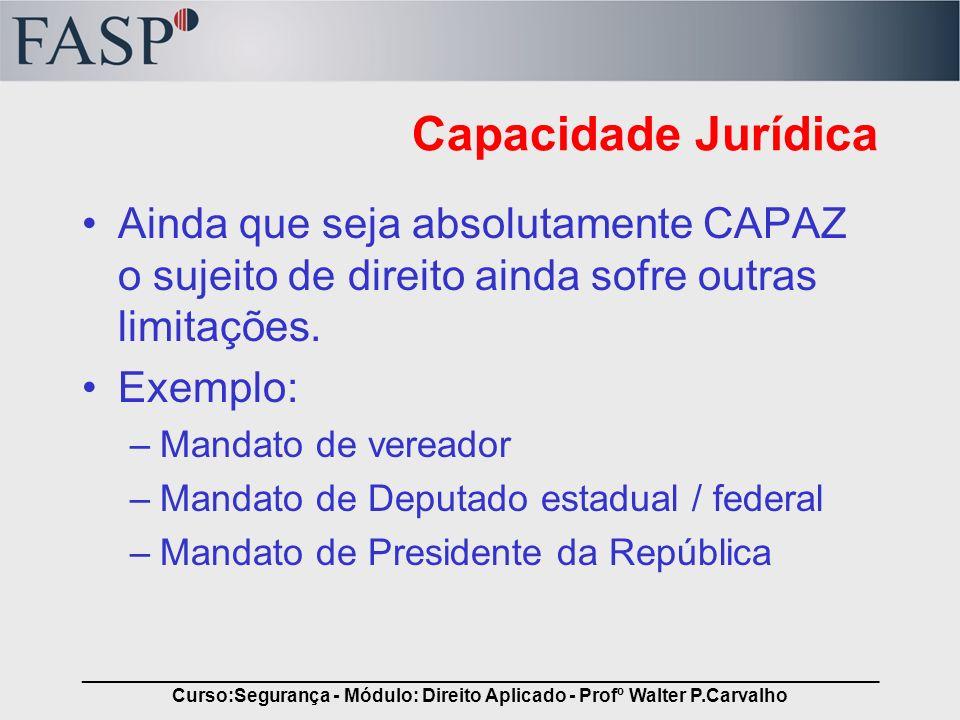 _____________________________________________________________________________ Curso:Segurança - Módulo: Direito Aplicado - Profº Walter P.Carvalho Cap