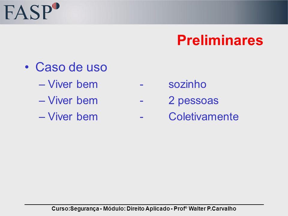 _____________________________________________________________________________ Curso:Segurança - Módulo: Direito Aplicado - Profº Walter P.Carvalho Requisitos do Contrato São requisitos essenciais –Acordo de vontades –Objeto lícito –Agentes capazes –Forma prescrita e não defesa em lei