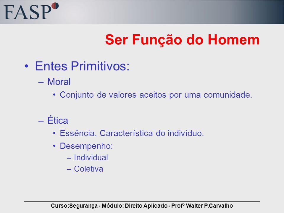 _____________________________________________________________________________ Curso:Segurança - Módulo: Direito Aplicado - Profº Walter P.Carvalho Ser