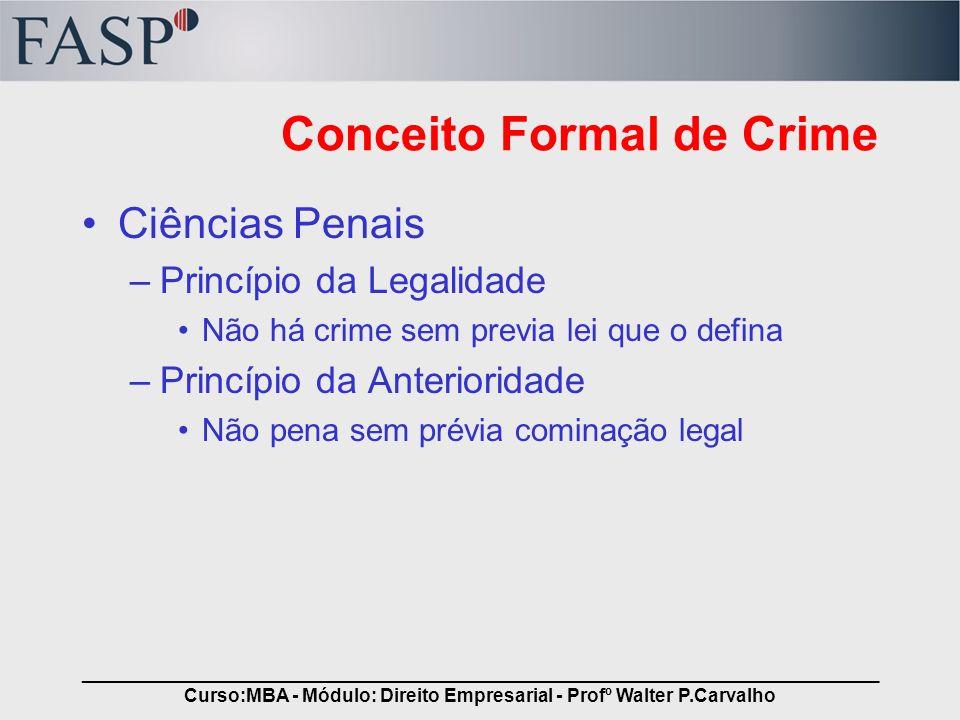 _____________________________________________________________________________ Curso:MBA - Módulo: Direito Empresarial - Profº Walter P.Carvalho Tipo Penal Refere-se a conduta, em abstrato, descrita na lei, sob a qual aplica-se os ditames definidos.