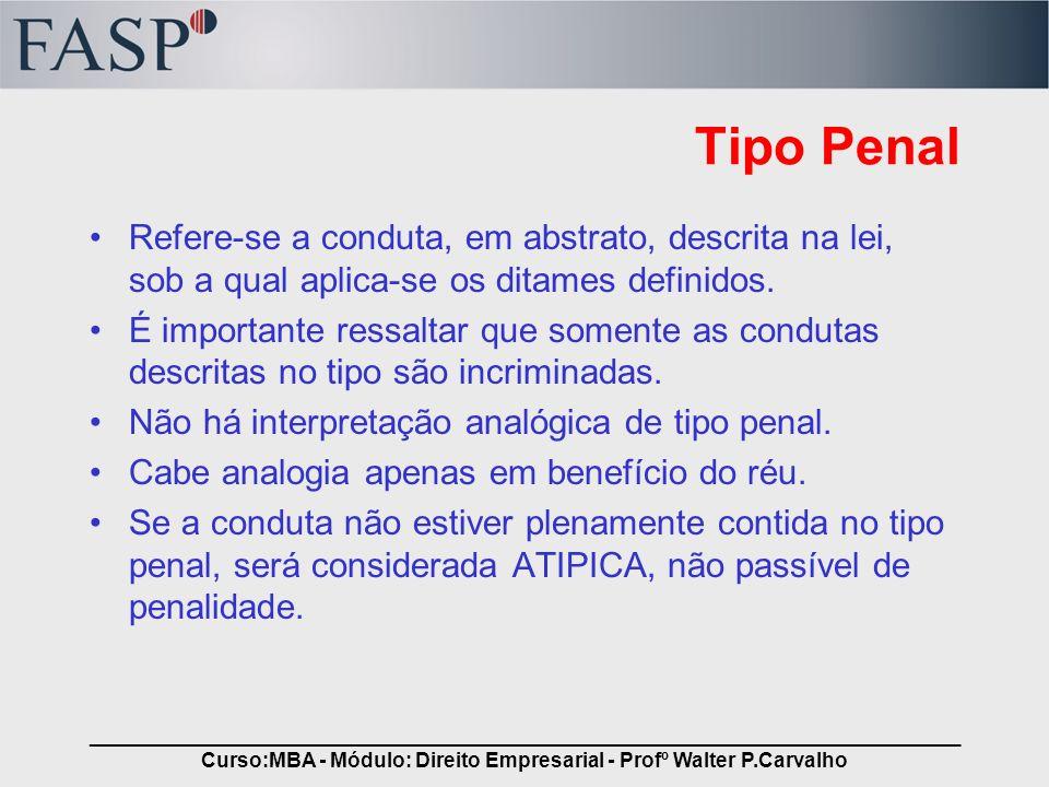 _____________________________________________________________________________ Curso:MBA - Módulo: Direito Empresarial - Profº Walter P.Carvalho Crime É fato tipico e antijuridico Culpabilidade –É a medida do grau de intencionalidade da conduta do agente.