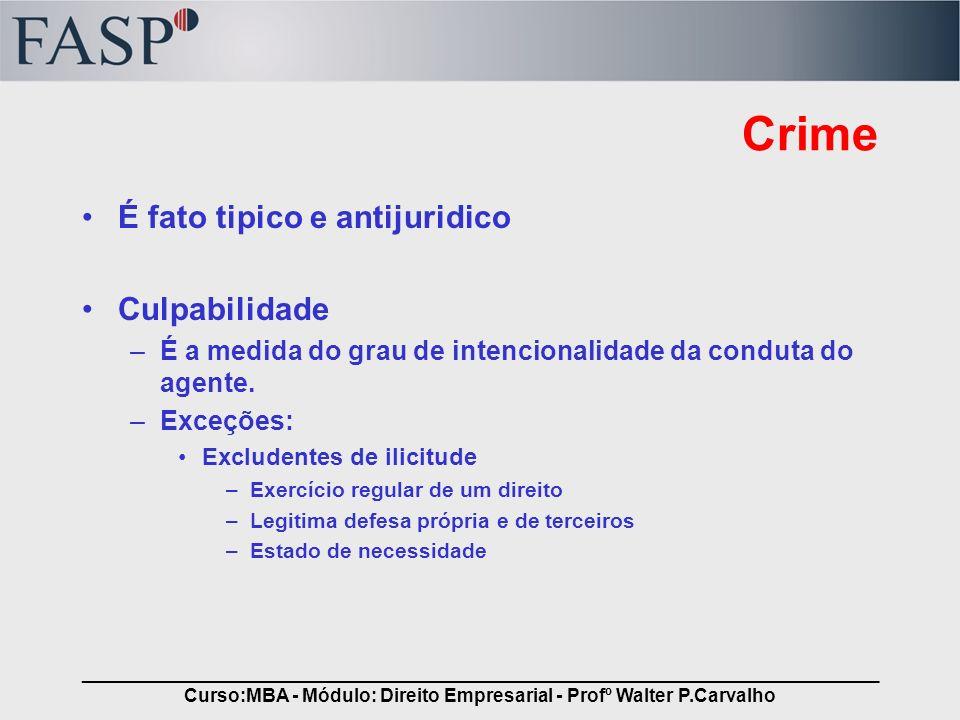 _____________________________________________________________________________ Curso:MBA - Módulo: Direito Empresarial - Profº Walter P.Carvalho Crime Culposo e Doloso A lei assim os definem e é função do grau de intencionalidade da conduta.