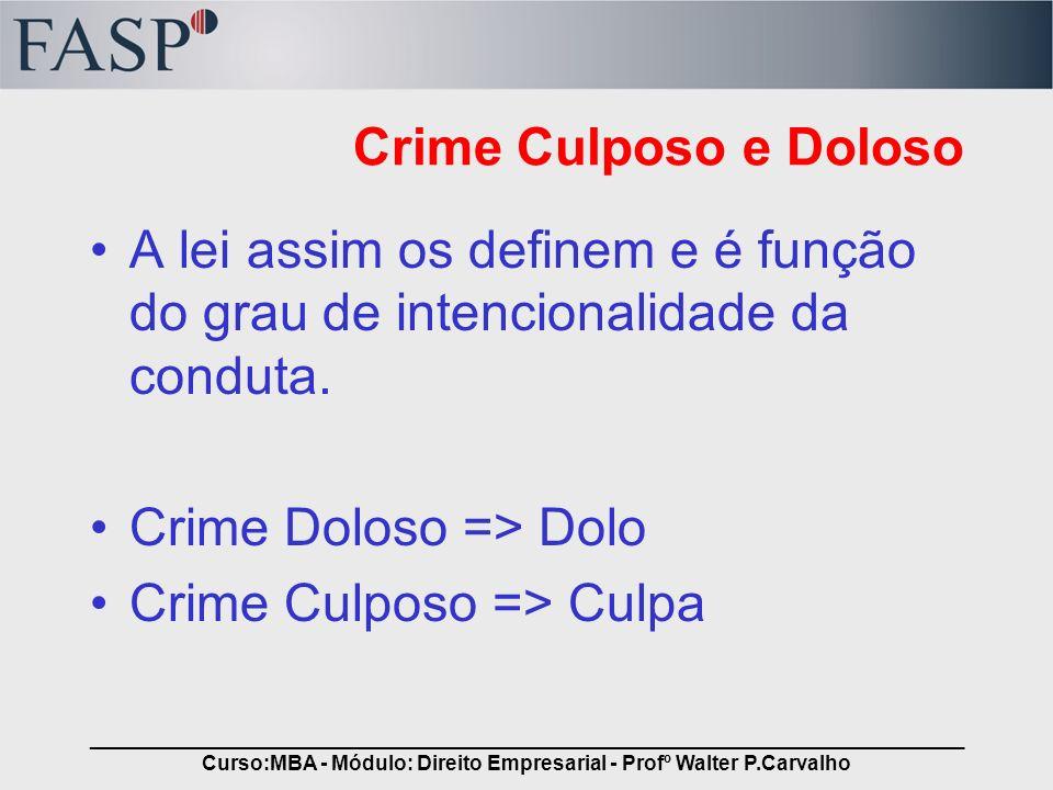 _____________________________________________________________________________ Curso:MBA - Módulo: Direito Empresarial - Profº Walter P.Carvalho Crime Doloso É o crime onde o agente se manifesta de forma livre e consciente, no sentido de produzir a conduta incriminada.