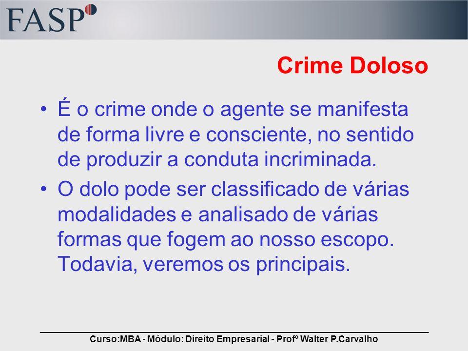 _____________________________________________________________________________ Curso:MBA - Módulo: Direito Empresarial - Profº Walter P.Carvalho Espécies de Dolo Dolo Direto –Ocorre quando o evento criminoso corresponde à vontade do sujeito ativo.