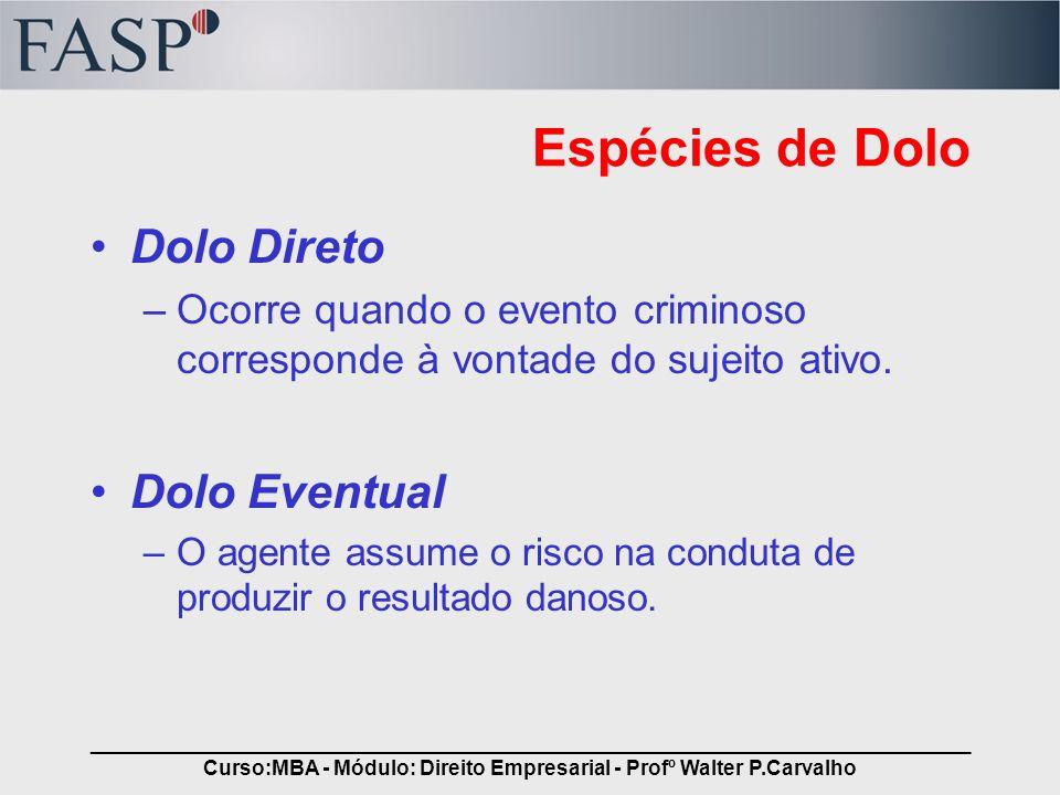 _____________________________________________________________________________ Curso:MBA - Módulo: Direito Empresarial - Profº Walter P.Carvalho Crimes Culposos A lei assim o define, e se manifesta mediante a observância dos seguintes elementos pertinentes: –Negligência –Imprudência –Imperícia